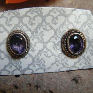 Amethyst Sterling Silver EARRINGS faceted Stones